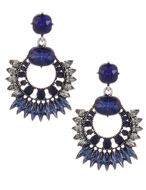 Fashion Navy Round Shape Decorated Earrings