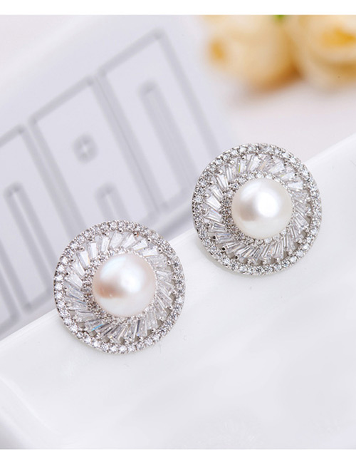 Fashion Silver Color+white Pearl&diamond Decorated Earrings
