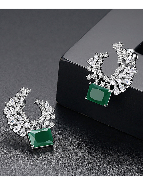 Fashion Green Moon Shape Decorated Earrings