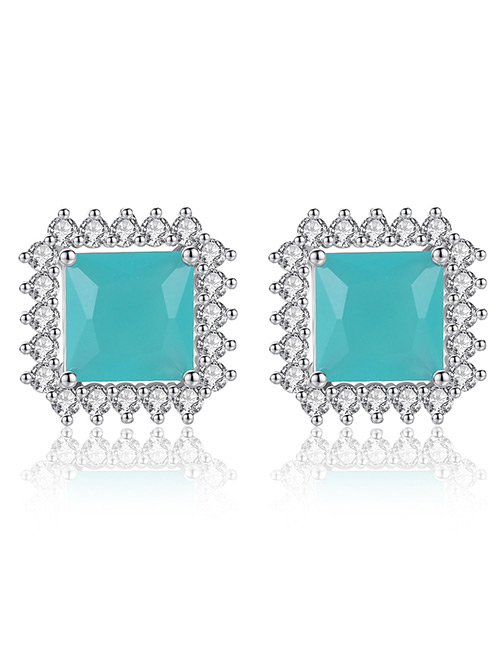 Fashion Silver Color+blue Square Shape Decorated Earrings