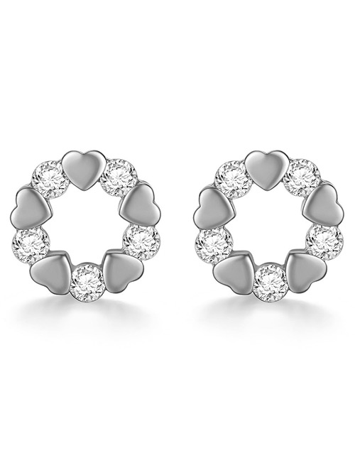 Fashion Silver Color Heart Shape Decorated Earrings