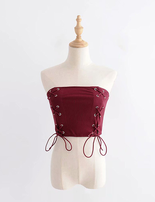 Vintage Claret Red Bandage Decorated Pure Color Vest