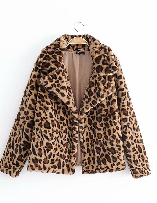 Fashion Brown Leopard Pattern Decorted Coat