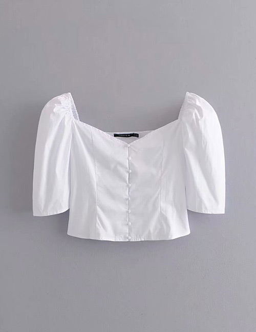 Fashion White Pure Color Decorated V Neckline Shirt