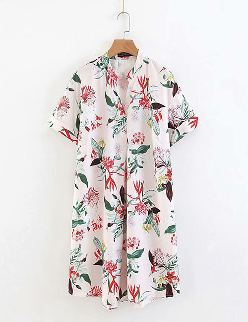 Fashion Multi-color Flower Pattern Decorated V Neckline Dress