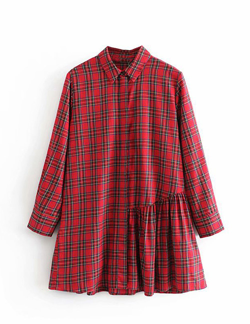 Fashion Red Grid Pattern Decorated Shirt