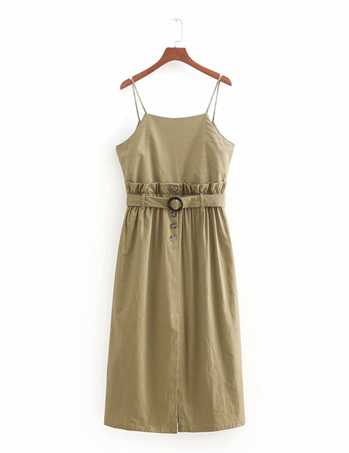 Fashion Olive Green Pure Color Decorated Suspender Dress