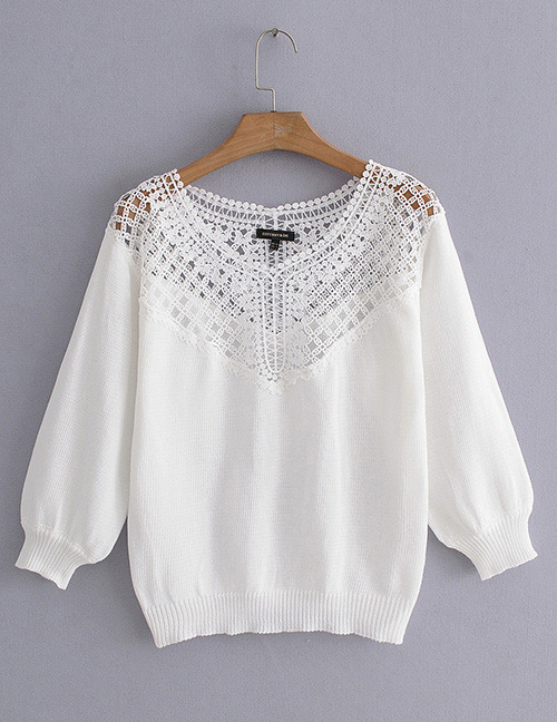 Fashion White Hollow Out Design Pure Color Sweater