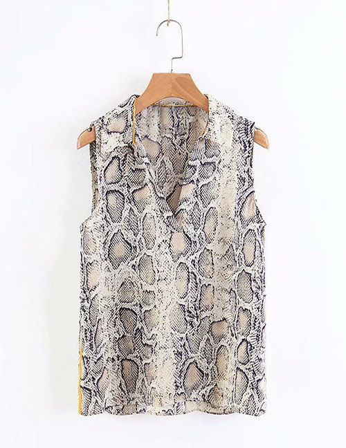 Fashion Black Snake Skin Pattern Decorated Shirt
