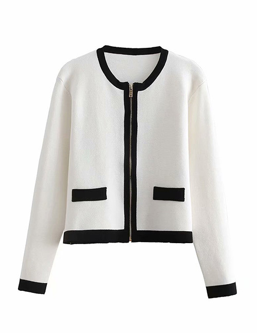Fashion White Zipper Decorated Pure Color Coat