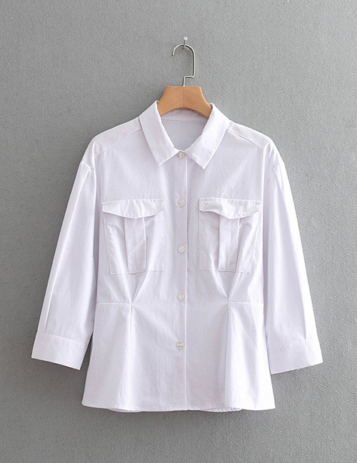 Fashion White Pure Color Decorated Shirt