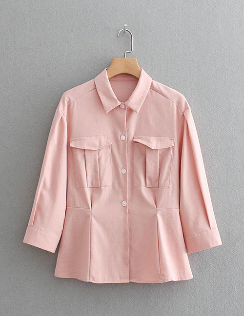 Fashion Pink Pure Color Decorated Shirt