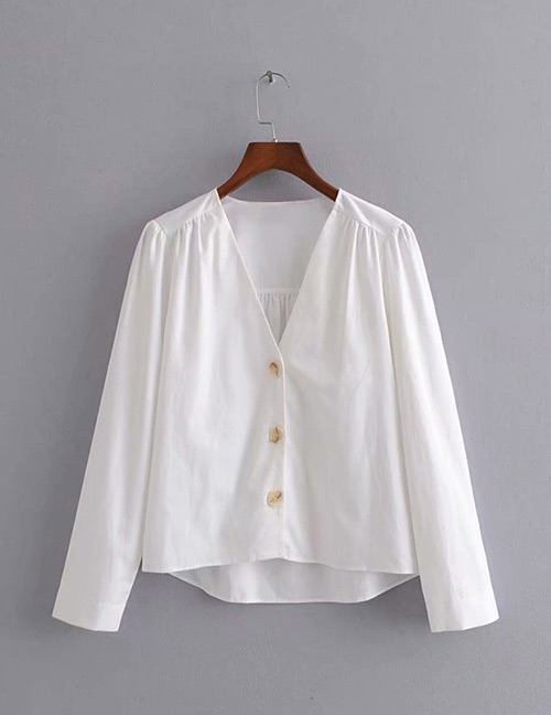 Fashion White V Neckline Design Pure Color Shirt