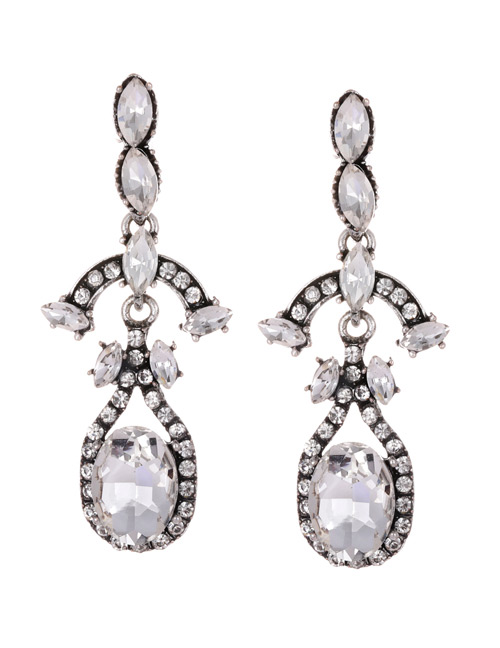 Fashion White Full Diamond Decorated Long Earrings