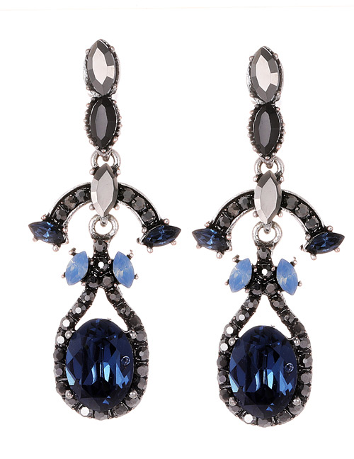 Fashion Blue Full Diamond Decorated Long Earrings