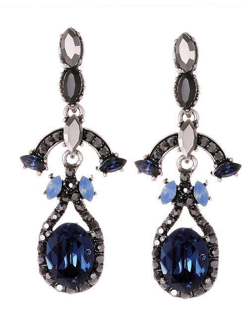 Fashion Blue Full Diamond Decorated Long Earrings