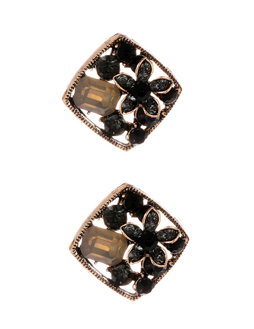 Fashion Black Flower Decorated Square Shape Earrings