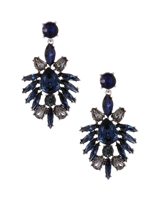 Fashion Blue Oval Shape Diamond Decorated Earrings