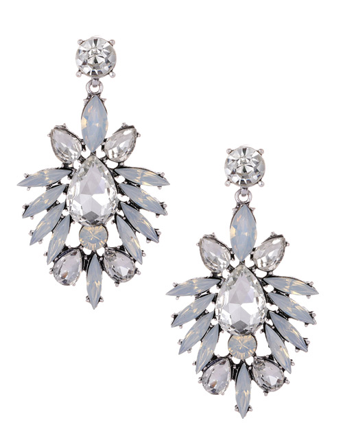 Fashion White Oval Shape Diamond Decorated Earrings