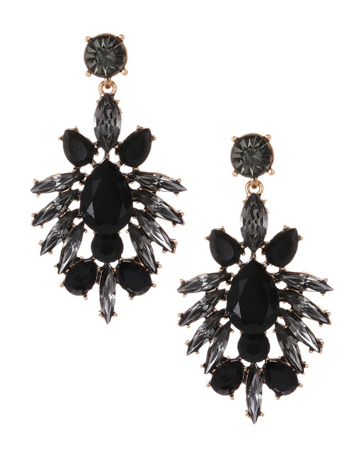 Fashion Black Oval Shape Diamond Decorated Earrings