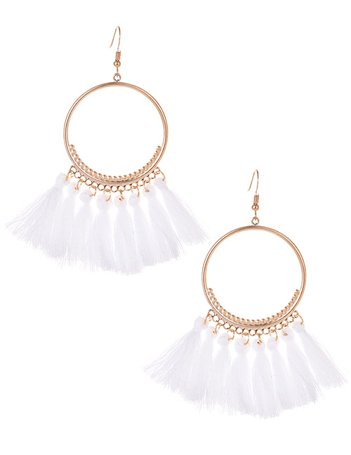 Fashion White Tassel Decorated Pure Color Earrings