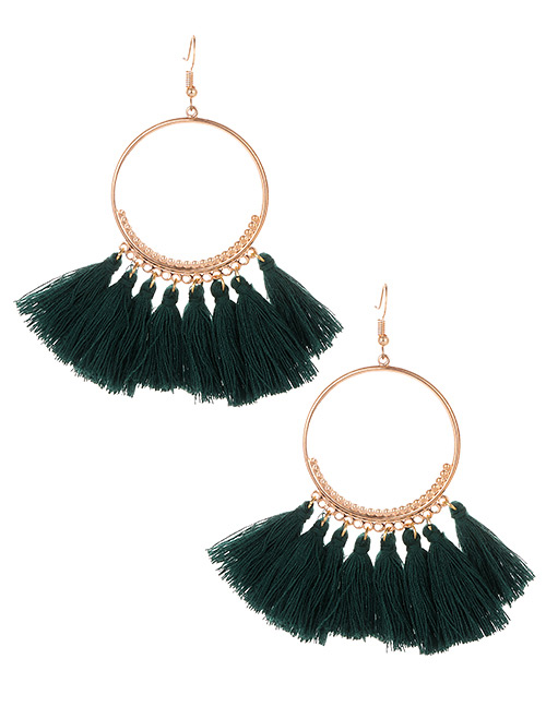 Fashion Dark Green Tassel Decorated Pure Color Earrings