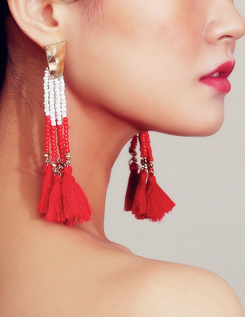 Vintage Gold Color Tassel Decorated Long Earrings