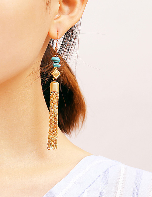 Vintage Gold Color Long Tassel Decorated Earrings