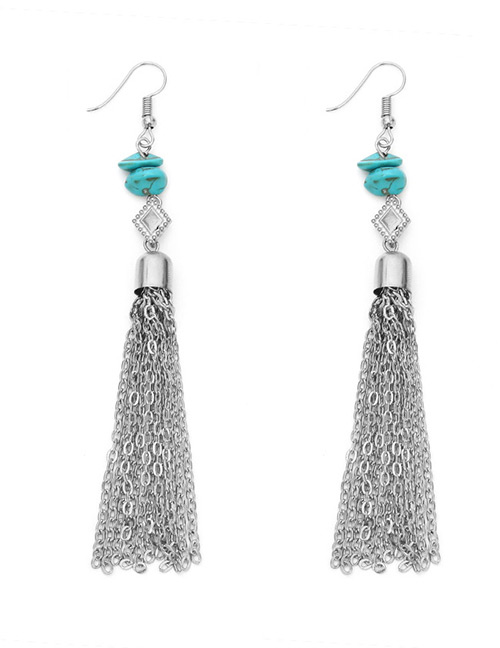 Vintage Silver Color Long Tassel Decorated Earrings
