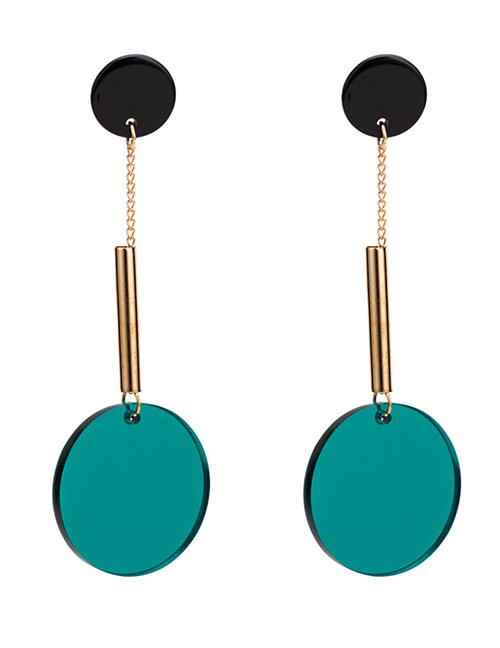 Fashion Green Round Shape Decorated Long Earrings