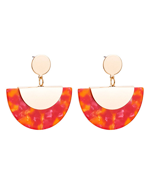 Fashion Red Semicircle Shape Design Simple Earrings