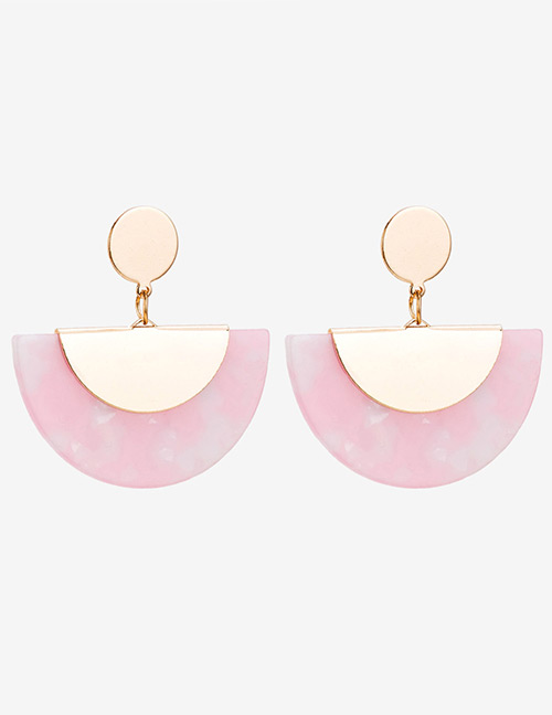 Fashion Pink Semicircle Shape Design Simple Earrings