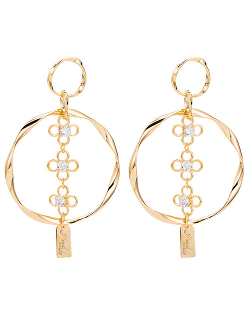 Fashion Gold Color Hollow Out Flower Design Pure Color Earrings