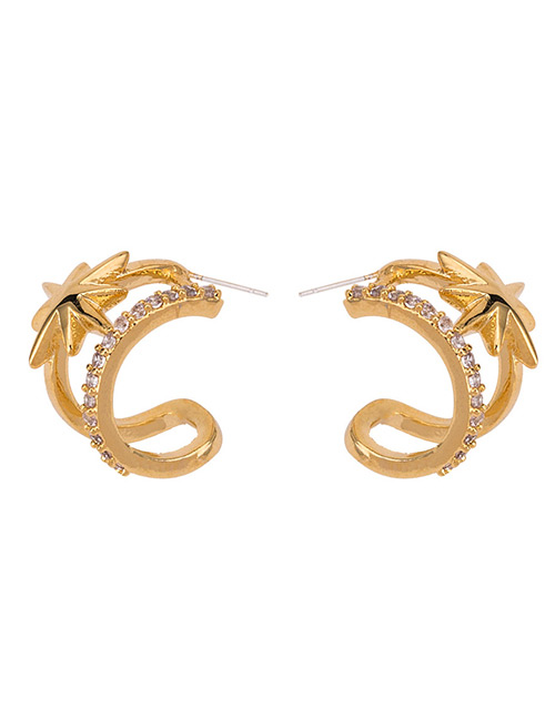 Fashion Gold Color Star Shape Decorated Pure Color Earrings