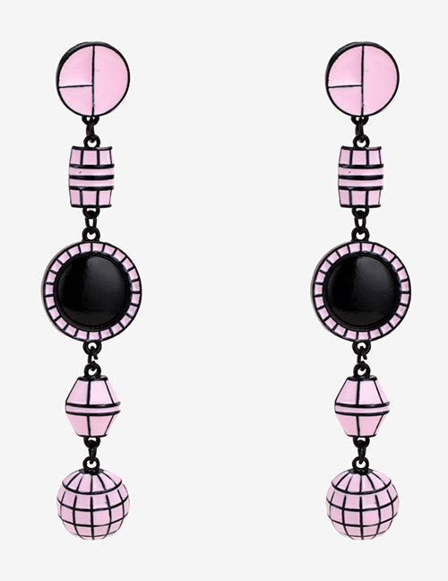 Fashion Pink Geometric Shape Decorated Long Earrings
