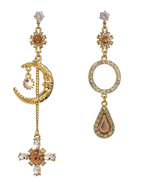 Fashion Gold Color Moon&flower Decorated Asymmetric Earrings