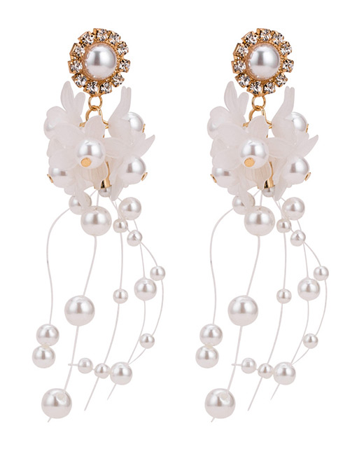Fashion White Pearls&flowers Decorated Long Earrings