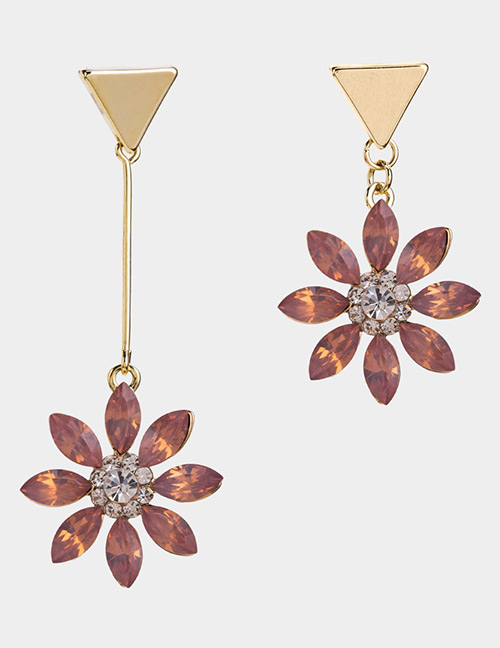 Fashion Pink Flowers Decorated Asymmetric Earrings