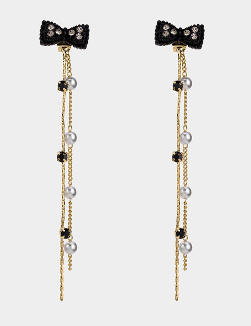 Fashion Black Bowknot&pearls Decorated Long Earrings