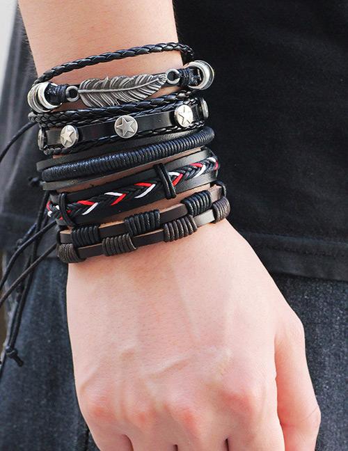 Vintage Black Leaf Decorated Multi-layer Bracelet (5pcs)