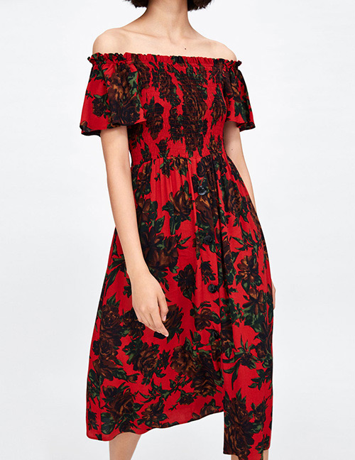 Fashion Red Flowers Pattern Decorated Off Shoulder Dress