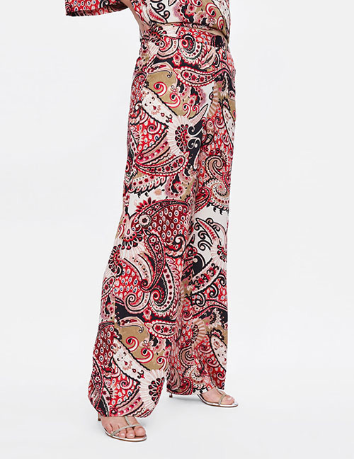 Fashion Pink Flowers Decorated Wide-legs Pants