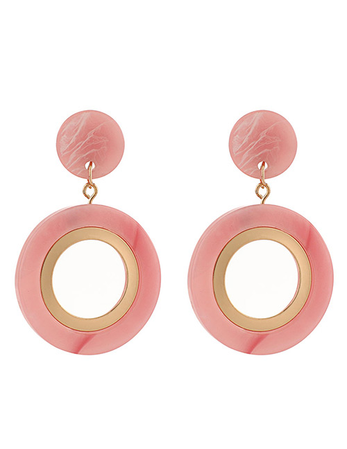 Fashion Pink Round Shape Design Hollow Out Earrings