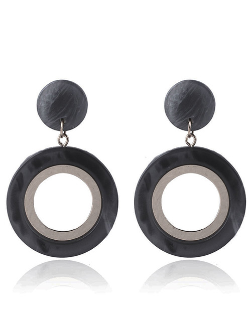 Fashion Black Round Shape Design Hollow Out Earrings