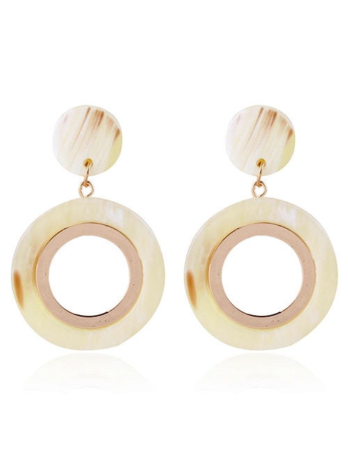 Fashion Beige Round Shape Design Hollow Out Earrings