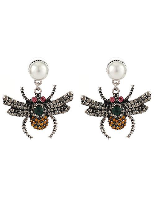 Fashion Multi-color Full Diamond Design Insect Shape Earrings