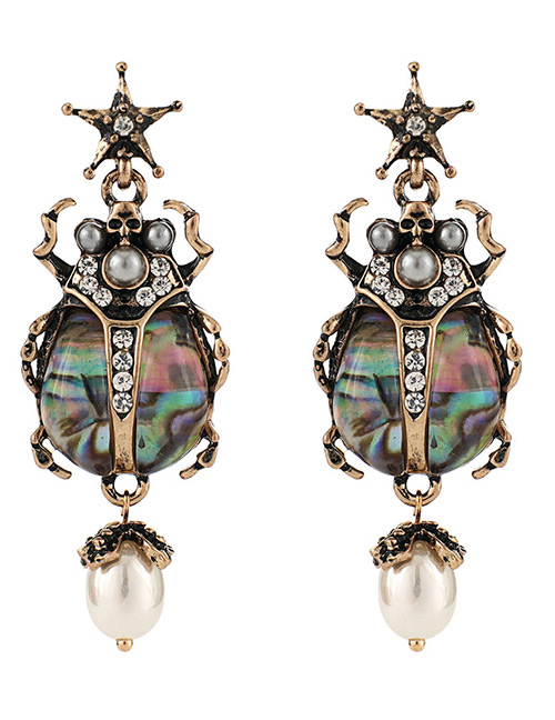 Fashion Antique Gold Gemstone Decorated Insect Shape Earrings