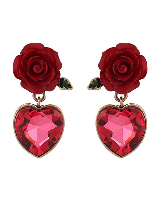 Fashion Claret Red Flowers Decorated Heart Shape Earrings
