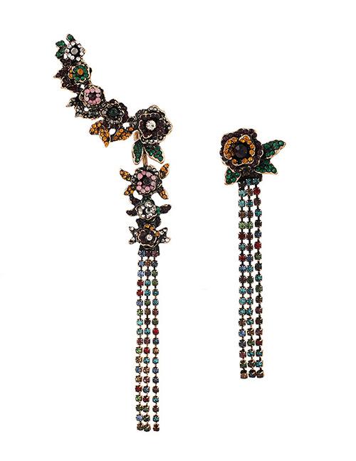 Fashion Multi-color Flowers Decorated Asymmetric Tassel Earrings