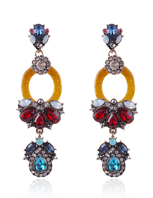 Fashion Multi-color Full Diamond Decorated Long Earrings